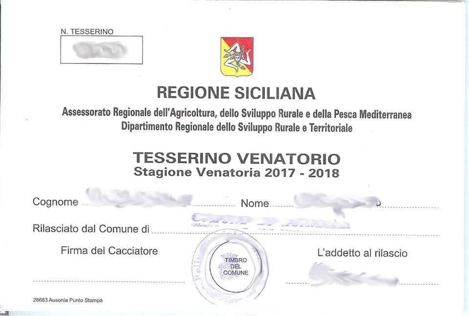 Calendario Venatorio Sicilia.Riconsegna Tesserino Venatorio 2017 2018 Liberi Cacciatori